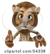 Royalty Free RF Clipart Illustration Of A 3d Lion Character Giving The Thumbs Up And Standing Behind A Blank Sign
