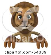 Royalty Free RF Clipart Illustration Of A 3d Lion Character Standing Behind A Blank Sign by Julos