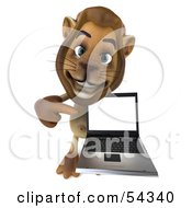 Royalty Free RF Clipart Illustration Of A 3d Lion Character Presenting A Laptop Pose 3