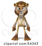 3d Lion Character Standing And Facing Front