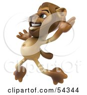 Royalty Free RF Clipart Illustration Of A 3d Lion Character Jumping Pose 2
