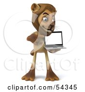 Royalty Free RF Clipart Illustration Of A 3d Lion Character Presenting A Laptop Pose 2