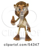 Royalty Free RF Clipart Illustration Of A 3d Lion Character Giving The Thumbs Up Pose 1 by Julos