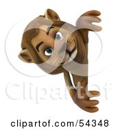 Royalty Free RF Clipart Illustration Of A 3d Lion Character Looking Around A Blank Sign