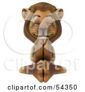 3d Lion Character Meditating Pose 3 by Julos