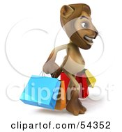 Royalty Free RF Clipart Illustration Of A 3d Lion Character Carrying Shopping Bags Pose 1