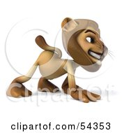 Royalty Free RF Clipart Illustration Of A 3d Lion Character Walking On All Fours Pose 3
