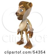 Royalty Free RF Clipart Illustration Of A 3d Lion Character Standing And Facing Left