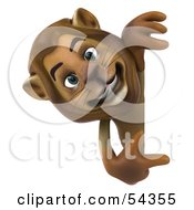 Royalty Free RF Clipart Illustration Of A 3d Lion Character Pointing To And Looking Around A Blank Sign