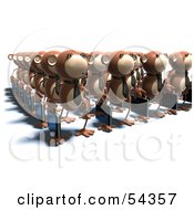Royalty Free RF Clipart Illustration Of Rows Of 3d Business Monkeys Carrying Briefcases Version 3