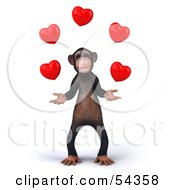 Royalty Free RF Clipart Illustration Of A 3d Chimp Character Juggling Hearts Version 1