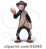 Royalty Free RF Clipart Illustration Of A 3d Chimp Character Waving Pose 1