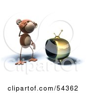 Royalty Free RF Clipart Illustration Of A 3d Monkey Character Watching Tv Version 2