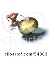 Royalty Free RF Clipart Illustration Of A 3d Monkey Character Watching Tv Version 6
