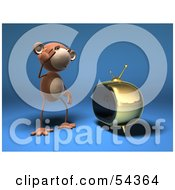 Royalty Free RF Clipart Illustration Of A 3d Monkey Character Watching Tv Version 1