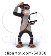 Royalty Free RF Clipart Illustration Of A 3d Chimp Character Holding A Laptop Version 6