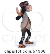 Royalty Free RF Clipart Illustration Of A 3d Chimp Character Waving Pose 2