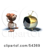 Royalty Free RF Clipart Illustration Of A 3d Monkey Character Watching Tv Version 4