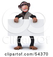 Royalty Free RF Clipart Illustration Of A 3d Chimp Character Standing And Holding A Blank Sign