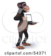 Royalty Free RF Clipart Illustration Of A 3d Chimp Character Holding A Laptop Version 3
