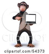 Royalty Free RF Clipart Illustration Of A 3d Chimp Character Holding A Laptop Version 2