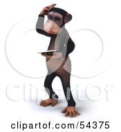 Royalty Free RF Clipart Illustration Of A 3d Chimp Character Holding A Laptop Version 7