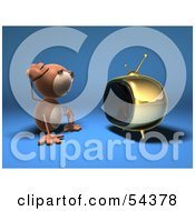 Royalty Free RF Clipart Illustration Of A 3d Monkey Character Watching Tv Version 3