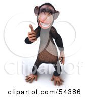 Royalty Free RF Clipart Illustration Of A 3d Chimp Character Giving The Thumbs Up Pose 2