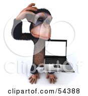 Royalty Free RF Clipart Illustration Of A 3d Chimp Character Holding A Laptop Version 5