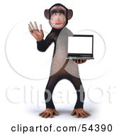 Royalty Free RF Clipart Illustration Of A 3d Chimp Character Holding A Laptop Version 1