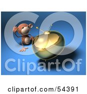 Royalty Free RF Clipart Illustration Of A 3d Monkey Character Watching Tv Version 5