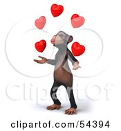 Royalty Free RF Clipart Illustration Of A 3d Chimp Character Juggling Hearts Version 2