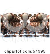 Royalty Free RF Clipart Illustration Of Rows Of 3d Business Monkeys Carrying Briefcases Version 2 by Julos