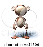 3d Monkey Character With A Confused Expression - Version 2