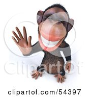 Royalty Free RF Clipart Illustration Of A 3d Chimp Character Waving Pose 3