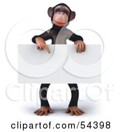 Royalty Free RF Clipart Illustration Of A 3d Chimp Character Pointing To And Holding A Blank Sign by Julos
