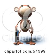 Royalty Free RF Clipart Illustration Of A 3d Monkey Character Businessman Carrying A Briefcase Version 2
