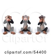Royalty Free RF Clipart Illustration Of 3d Chimp Characters Covering Their Eyes Ears And Mouths