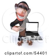 Royalty Free RF Clipart Illustration Of A 3d Chimp Character Holding A Laptop Version 4 by Julos