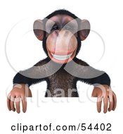 Royalty Free RF Clipart Illustration Of A 3d Chimp Character Standing Behind And Holding Up A Sign by Julos