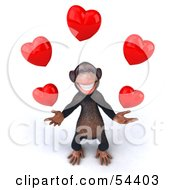 Royalty Free RF Clipart Illustration Of A 3d Chimp Character Juggling Hearts Version 3