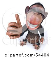 Royalty Free RF Clipart Illustration Of A 3d Chimp Character Giving The Thumbs Up Pose 1 by Julos