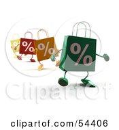 3d Percent Shopping Bags Walking Forward Version 1 by Julos
