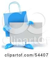 Royalty Free RF Clipart Illustration Of A 3d Blue Shopping Bag Holding And Pointing To A Blank Business Card by Julos