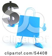 Royalty Free RF Clipart Illustration Of A Blue 3d Shopping Bag With Arms And Legs Holding A Dollar Symbol Pose 3