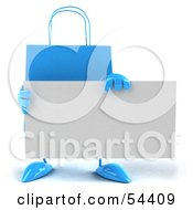 Royalty Free RF Clipart Illustration Of A 3d Blue Shopping Bag Holding A Blank Business Card by Julos