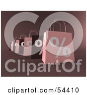 Royalty Free RF Clipart Illustration Of A Row Of 3d Pink And Brown Percent Shopping Bags Version 2