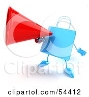 Royalty Free RF Clipart Illustration Of A 3d Blue Shopping Bag Announcing Through A Megaphone by Julos