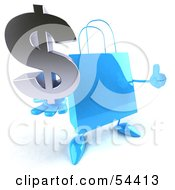 Royalty Free RF Clipart Illustration Of A Blue 3d Shopping Bag With Arms And Legs Holding A Dollar Symbol Pose 2 by Julos