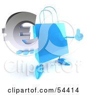 Blue 3d Shopping Bag With Arms And Legs Holding A Euro Symbol - Pose 2